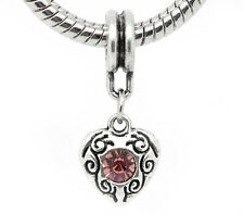 February Birthstone Heart Purple Rhinestone Dangle Charm for European Bracelets