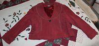 Pamela McCoy Suede Leather Studded Fringe Jacket Coat, Womens 1X, Reddish Brown