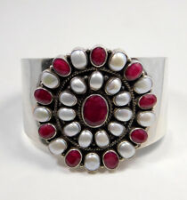 Ruby Pearl Bridal Wedding Jewelry 77g 925 Sterling Silver Cuff Bracelet MB1241