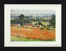 Claude Monet - Mohnblumenfeld Giverny Poster Plakat Gerahmt (40x30cm) #114126