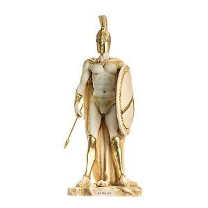 "LEONIDAS Statue Greek Spartan King Sculpture Figure Alabaster Gold Tone13.77"""