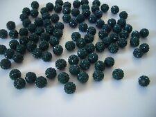12 unidades pedrería perlas beads perlas Shamballa verde oscuro 10 mm (1355)