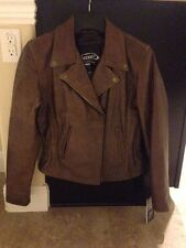 Xelement ladies braided classic brown leather jacket size S