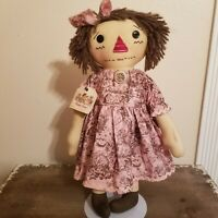 """VTG Handmade Raggedy Ann 18"""" Antique Tea Stained Doll by Wild Berry Primitives"""