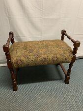 Antique Victorian Walnut Wood Vanity Piano Stool Seat Bench