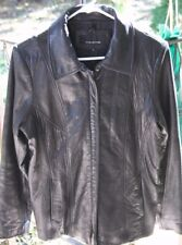 Jones New York Women's 3/4 Leather Black Coat Size M