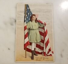 """Antique USA Patriotic Postcard """"Old and Young Glory"""""""