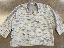 Chicos Design Womens Brown Black Tribal design 3/4 sleeve button up shirt size 3
