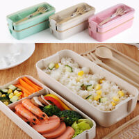 2 Layer Plastic Lunch Box Food Container Wheat Straw Microwave Bento Boxes 750ml