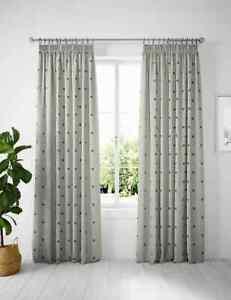 """Ex M&S Cotton Mix Bee Pencil Pleat Blackout Curtains 135cm/53"""" X 229cm/90"""" I191"""