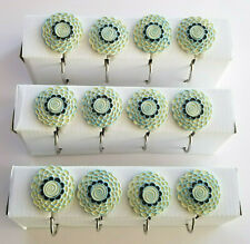 12 Bathroom Shower Curtain Hooks Seafoam Blue, Dark Blue new - No outer box
