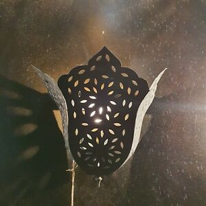 Traditional Moroccan Iron Wall Light - Black Finish - H30 x W25cm - Fast Free PP