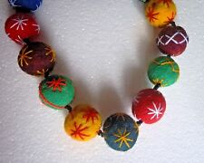 "SINGLE STRAND  MULTI COLOUR FELTED WOOL BALL NECKLACE 30"" LONG"