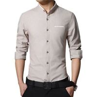 Plus Size Men Long Sleeve Shirt Mandarin Collar Slim Fit Dress Tops Casual Ths01