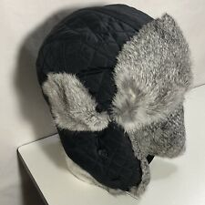 *Surell Genuine Rabbit Fur Trimmed Visor Quilted Trooper Aviator Hat Black/Gray