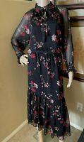 LAUREN RALPH LAUREN WOMENS Long Maxi High Neck Floral Ruffle Boho Dress sz 14 XL