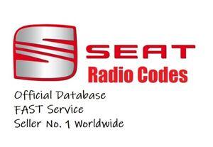 SEAT RADIO CODE UNLOCK CODE ALANA IBIZA LEON ALTEA   ALL MODELS RNS & RCD