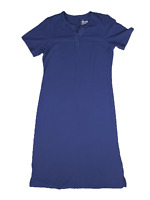 New $35 value Denim & Co. Size PS Blue Sht Slv Split-V Perfect Jersey Maxi Dress