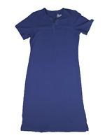 New $35 value Denim & Co. Size PS Blue Sht Slv Split-V Perfect Jersey Maxi Dress