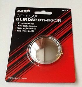 """2 X  SUMMIT BLIND SPOT MIRRORS ROUND ADHESIVE  2"""" INCH EASY FIT WIDE ANGLE RV16"""