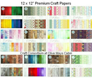 """Craft Consortium Paper Pads 12 x 12"""" Craft Essentials 30 Double Sided Sheets"""