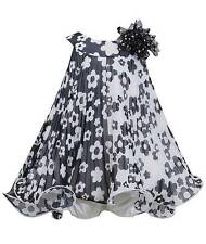 New Girls Bonnie Jean 18m Black White Flower Pleated Dress Clothes Fall Holiday