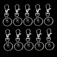 10x Silver Swivel Lobster Clasps Clips Key Hook Keychain Split Ring Findings