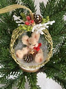 Miniature Christmas Bunny Ornament w Pine Cone OOAK Tiny Teddies by Elke  ID4438