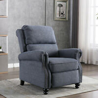 Push Back Recliner Chair Padded Seat Wide Back Home Decor Sofa w/ Rivet Design