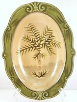 """Sauvignon West Indies Oval Vegetable Serving Bowl 11.5"""" Green and Tan Stoneware"""