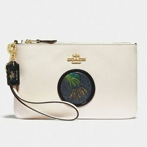 💥Coach Wizard of Oz Wristlet Wicked Witch Patch White Leather in GIFT BOX NEW