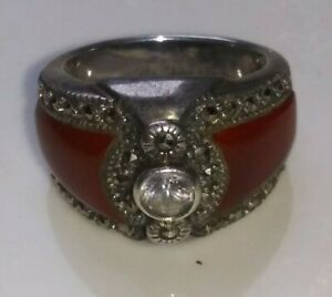 "925 Silver set tiny  diamond and ruby ring  6"" 金银 钻 红宝 石 戒"