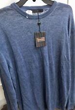 *NEW* ERMENEGILDO ZEGNA Solid Blue Crewneck Sweater Shirt SIZE 58 3XL NWT