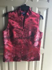 Ann Taylor Chinese Oriental Blouse Floral Print Button Color Burgundy Size 10