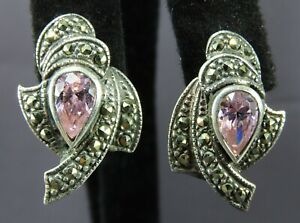STERLING SILVER Victorian Style SIM PINK TOPAZ & MARCASITE EARRINGS Pear/Tear