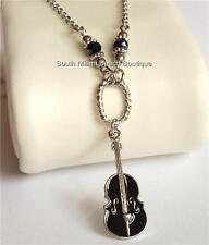 "Silver Violin Necklace Cello Plated Black Music Teacher Gift 18-22""  Plus Size"