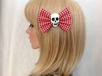 Red checkered skull hair bow clip rockabilly pin up girl punk gothic sugar