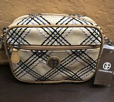 Giani Bernini Straw Tan Plaid Convertible Camera Bag