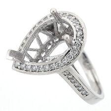 Pear Halo Diamond Semi Mount Engagement Ring Setting 0.53 Carats - 14K