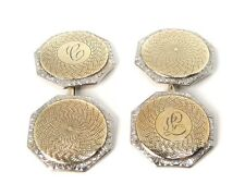 Vintage ART DECO 14k W/YG Double Sided  Guilloche Engraved Cufflinks * Gift Box