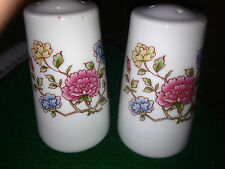 Rare Vintage Salt and Pepper Shakers with colorful flowers on white porcelain
