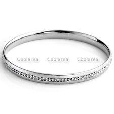 Fashion Stainless Steel Cubic Zirconia CZ Gem Stone Womens Bracelet Cuff Bangle