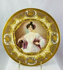 Antique Haviland Porcelain Plate Hand Painted Signed Lady Portrait Raised Gold
