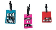 3 Pack Set Luggage tag Suitcase Name Label Pouch Fun Novelty Holiday Travel Bag