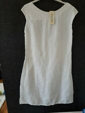 BNWT PURE LINO LADIES PURE WHITE LINEN SLEEVELESS KNEE LENGTH DRESS SIZE 10 / 12