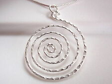 Hammered Spiral Necklace 925 Sterling Silver Corona Sun Jewelry round circle