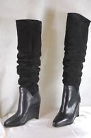 MAISON  MARGIELA WEDGE BLACK SUEDE SLOUCH OVER THE KNEE BOOTS EU 37  US 7