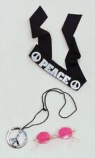 John Lennon Peace Hippy Headband & Sliver Peace Necklace & Pink Hippy Glasses