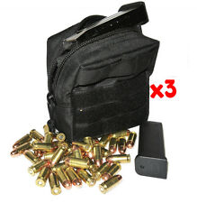 (3) 10MM AMMO MODULAR MOLLE UTILITY POUCH FRONT HOOK LOOP STRAP