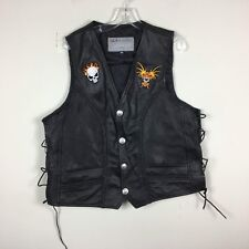US MOTORCYCLE GEAR Size XL Leather Sleeveless Vest STURGIS PATCHES Black